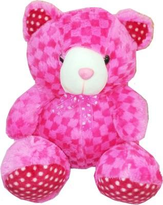 Shanaya Cute Checkered Teddy Bear Stuffed Soft Plush Toy Love Girl 32 cms   Pink   32 cm Pink Shanaya Soft Toys