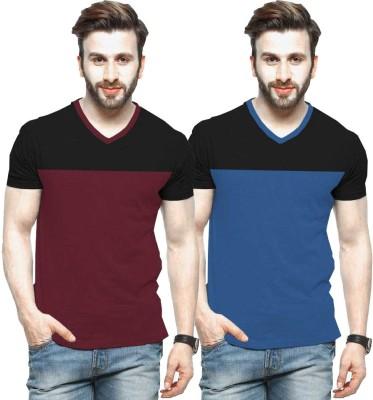 Tripr Color Block Men V Neck Blue, Black, Maroon T-Shirt(Pack of 2)