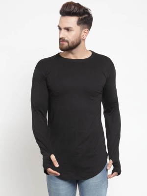 Rebozo Solid Men Round or Crew Black T-Shirt at flipkart