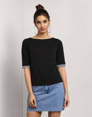 Metronaut Solid Women Boat Neck Black T-Shirt