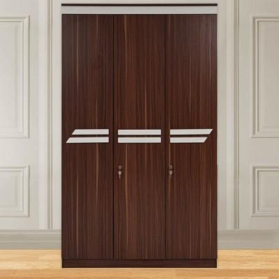 Evok Pristina Engineered Wood 3 Door Wardrobe(Finish Color - Walnut)