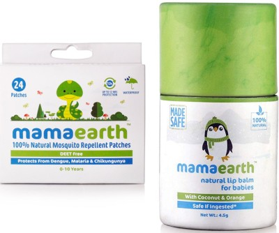Mamaearth Natural Repellent Mosquito Patches for Babies, 24 Patches änd Natural Baby Lip Balm for Babies With Coconut Oil, Cocoa Butter & Orange(Multicolor)