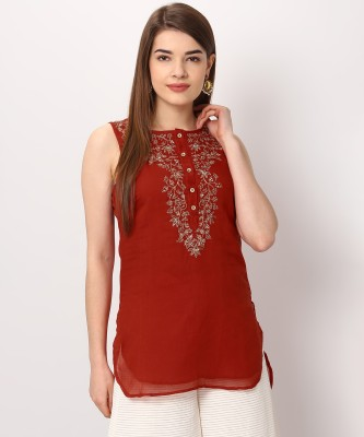 Biba Casual Embellished Women Kurti(Red) at flipkart
