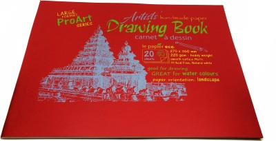 Creates   Designs Pro Art Series   Artist's Handmade Paper Drawing Book Large Sketch Pad Red, 20 Sheets