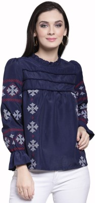 PAVNIFAB Casual 3/4 Sleeve Embroidered Women Blue Top