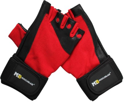 MUSCLEBLAZE Fitness Leather  Black   Red  Large Gym   Fitness Gloves Black   Red MUSCLEBLAZE Gym Gloves