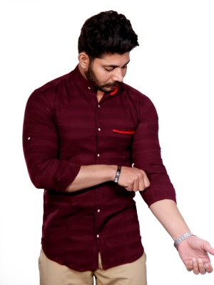 FUBAR Men Striped Casual Maroon Shirt