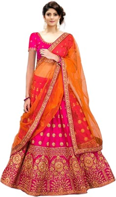 Kedar Fab Embroidered Semi Stitched Lehenga Choli(Pink, Orange)