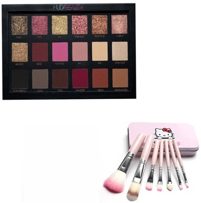 Huda Beauty Rose Gold Edition Eyeshadow Palette - 18 Shades & Hello Kitty mini Pink brush set (Pack of 7)(2 Items in the set)