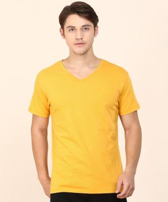 Rigo Solid Men V-neck Yellow T-Shirt