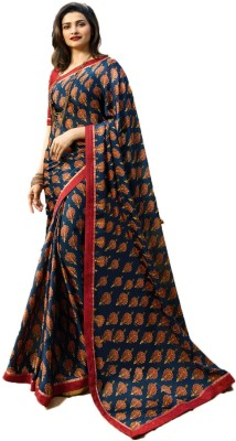 Bombey Velvat Fab Printed Daily Wear Poly Georgette Saree(Blue)
