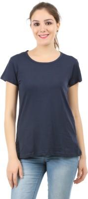 MIDAAS Solid Women Round Neck Dark Blue T-Shirt