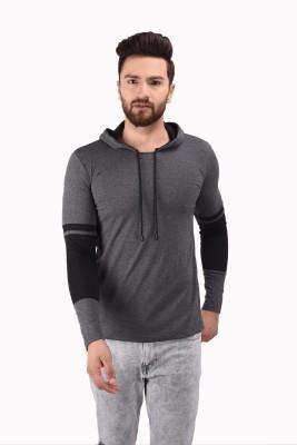 Kay Dee Creations Solid Men Hooded Grey T-Shirt