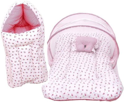 Kidoyzz Sleeping bag and Mosquito Protector Bedding Set Cotton - Pink Bed Set Crib(Fabric, Multicolor)