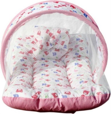 Kidoyzz Mosquito Protector Bedding Set Cotton - Teddy Print Pink Bed Set Crib(Fabric, Pink)