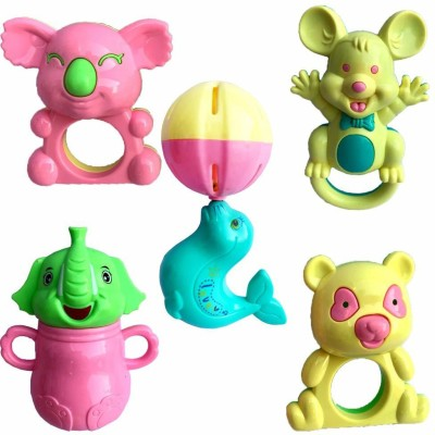 Saisan Rattle Toys for Toddler Based on Theme of Sound Shaking for Baby/Infant/Child (5 Pcs) Rattle(Multicolor)