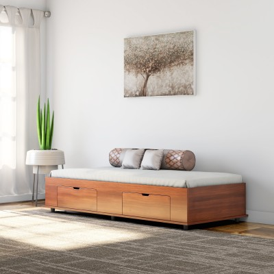 Okra Diwan Bed Engineered Wood Single Box Bed(Finish Color -  Light Oak)