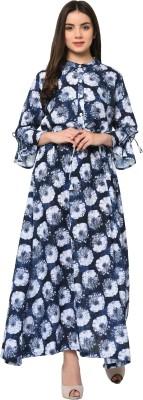 Yogyata Casual Floral Print Women Kurti(Blue)