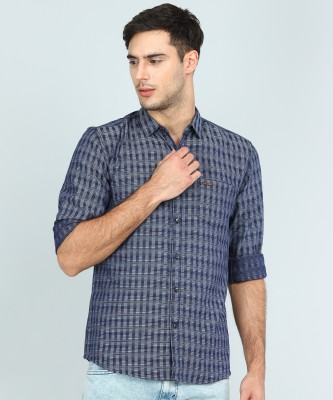 Wrangler Men Self Design, Striped Casual Blue, Grey Shirt at flipkart
