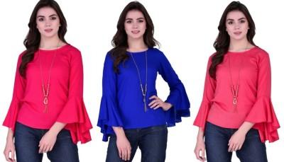 VAANYA Casual Bell Sleeve Solid Women Pink, Blue, Pink Top