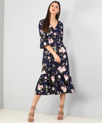 JWF Women Fit and Flare Blue Dress