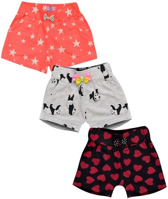 Aatu Kutty Short For Girls Casual Printed Cotton Blend(Multicolor, Pack of 3)