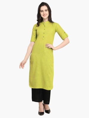 Divastri Women Solid, Dyed Pathani Kurta(Green)