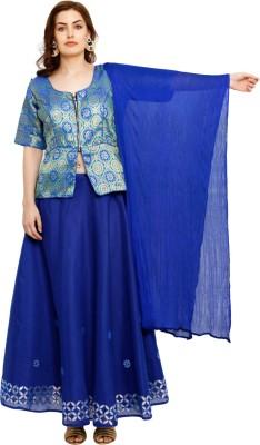 Salwar Studio Solid Stitched Lehenga Choli(Green, Blue)