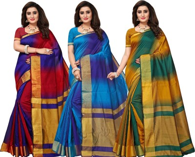 Bhuwal Fashion Striped Fashion Silk Cotton Blend Saree(Pack of 3, Multicolor)