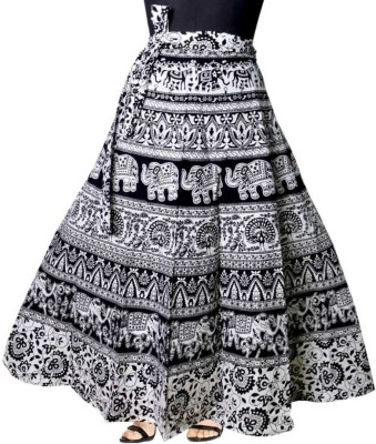 Modern Kart Printed Women Wrap Around Black Skirt