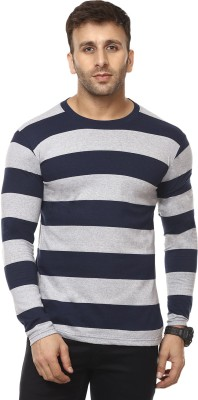 Cenizas Striped Men Round Neck Blue, Grey T-Shirt