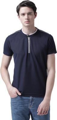 TSX Color Block Men Mandarin Collar Blue T-Shirt
