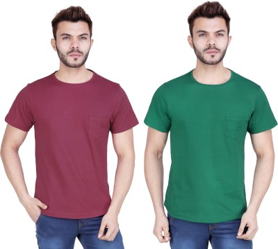 Le sartorial Solid Men Round Neck Maroon, Green T-Shirt(Pack of 2)