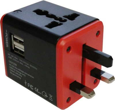 MX UNIVERSAL POCKET TRAVEL USB CHARGER-mx4024 Worldwide Adaptor(Multicolor)