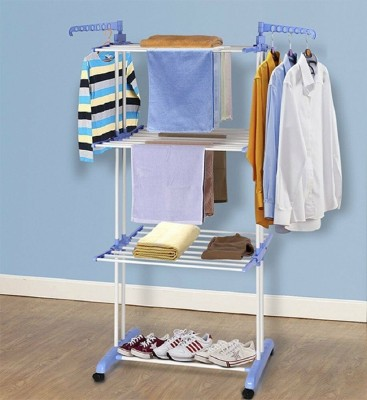 Techtest Clothes Stand For Drying Steel Foldable Balcony Dress Stand Laundry Dryer Rack Washing Hanging Clothing Dying Stainless Hanger Carbon Steel Floor Cloth Dryer Stand(Blue)