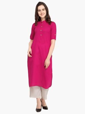 Divastri Women Solid, Dyed Pathani Kurta(Pink)