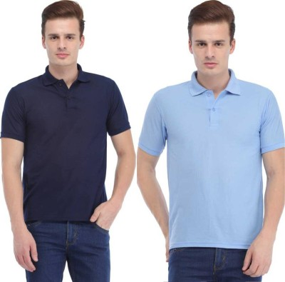 K2Creations Solid Men Polo Neck Blue, Dark Blue T-Shirt(Pack of 2)