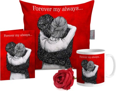 Tied Ribbons Cushion, Greeting Card, Mug, Artificial Flower Gift Set