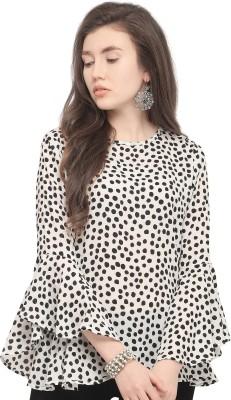 Serein Party Bell Sleeve Polka Print Women's White Top