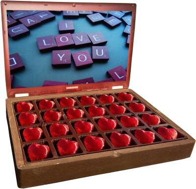 Innovative Valentine ILU Chocolate with message I Love You in Wooden Gift Box for Valentine Truffles