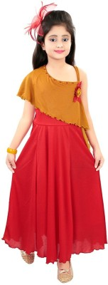 Style Junction Girls Maxi/Full Length Party Dress Red, Fashion Sleeve Style Junction Kids' Gowns