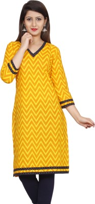 GAABA Casual Printed Women Kurti Yellow