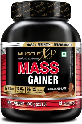 MuscleXP Mass Gainer - With 26 Vitamins & Minerals, Digestive Enzymes, Double Chocolate Weight Gainers/Mass Gainers(1 kg, Double Chocolate)