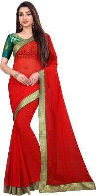 Anand Sarees Solid Bollywood Chiffon Saree(Red)