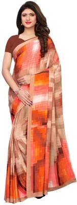Saara Printed Daily Wear Poly Crepe Saree Beige