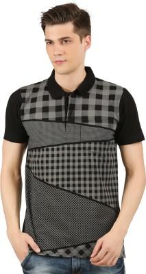 Wexford Checkered Men Polo Neck Black, Grey T-Shirt