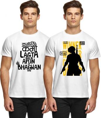 Broyz Printed Men Round Neck White T-Shirt(Pack of 2)