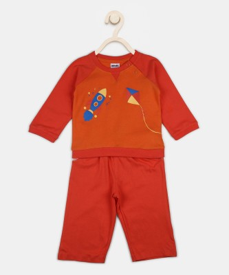 Fabindia Baby Boys & Baby Girls Casual T-shirt Track Pants(Orange)