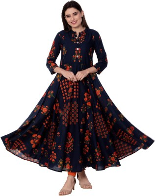 Gulmohar Jaipur Women Printed Flared Kurta(Blue)