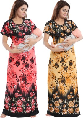 Shopping Station Women Maternity/Nursing Nighty(Multicolor)
